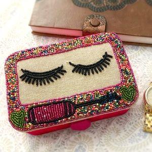 Boho eyelash beadwork & cloth keepsake jewelry box, pink cream